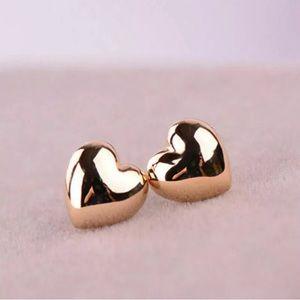 Puffy Heart Earrings Gold Cute!
